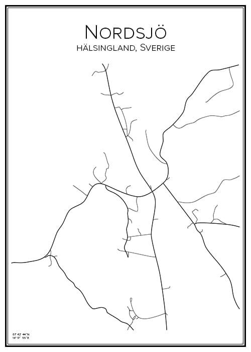 Stadskarta över Nordsjö