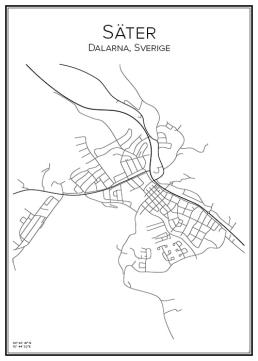 Stadskarta över Säter