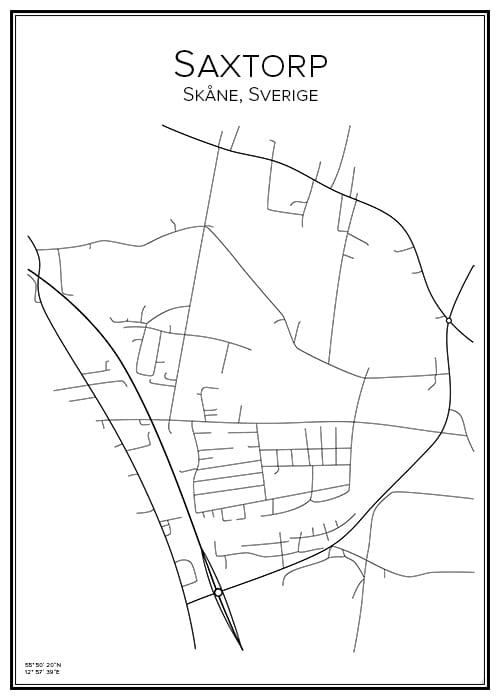 Stadskarta över Saxtorp