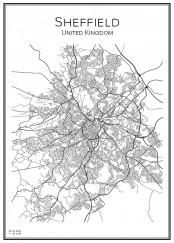 Stadskarta över Sheffield