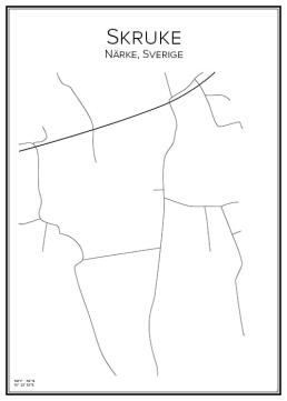 Stadskarta över Skruke