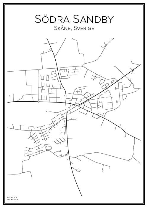 Stadskarta över Södra Sandby