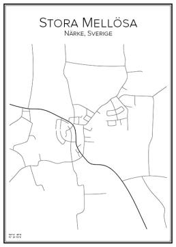 Stadskarta över Stora Mellösa