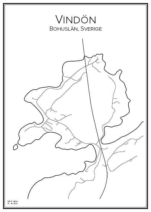 Stadskarta över Vindön