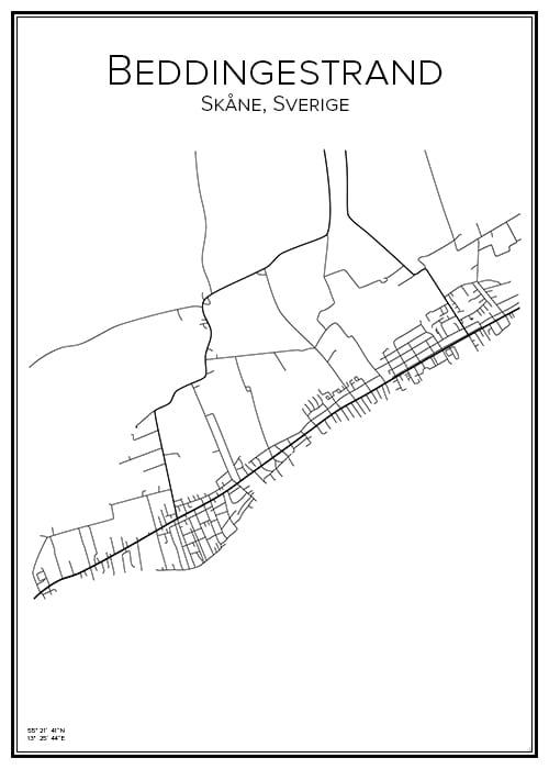 Stadskarta över Beddingestrand