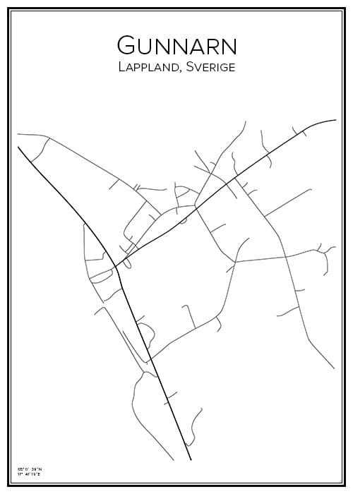 Stadskarta över Gunnarn