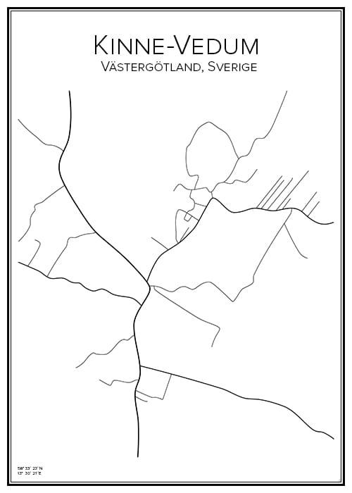 Stadskarta över Kinne-Vedum
