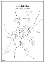 Stadskarta över Lessebo