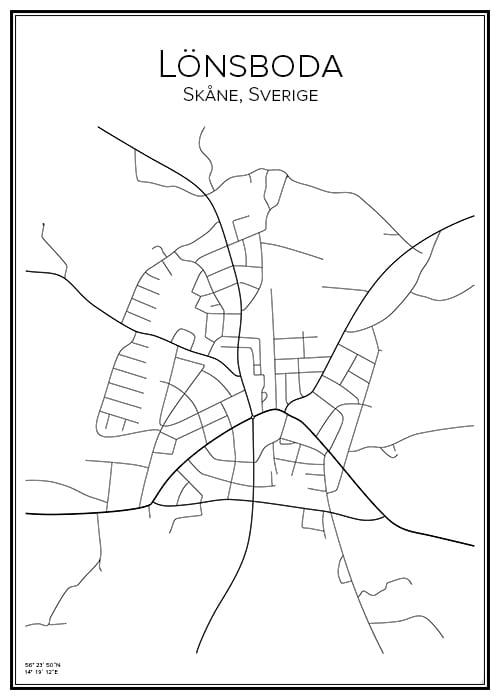Stadskarta över Lönsboda