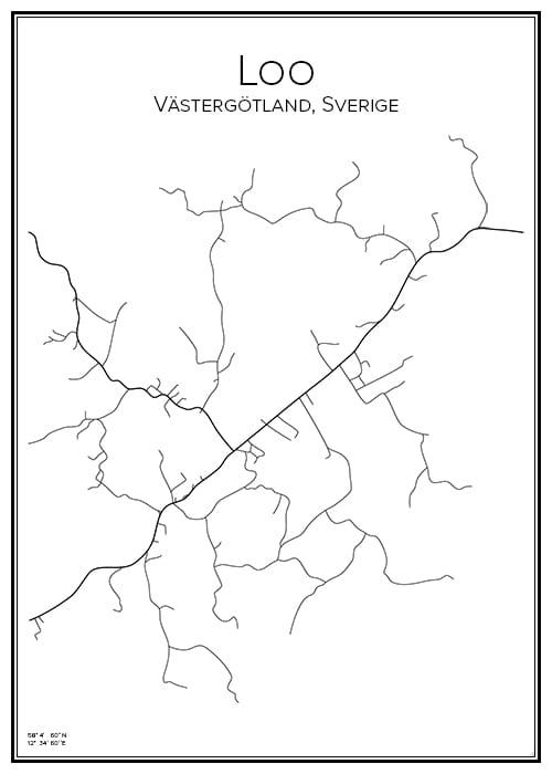 Stadskarta över Loo