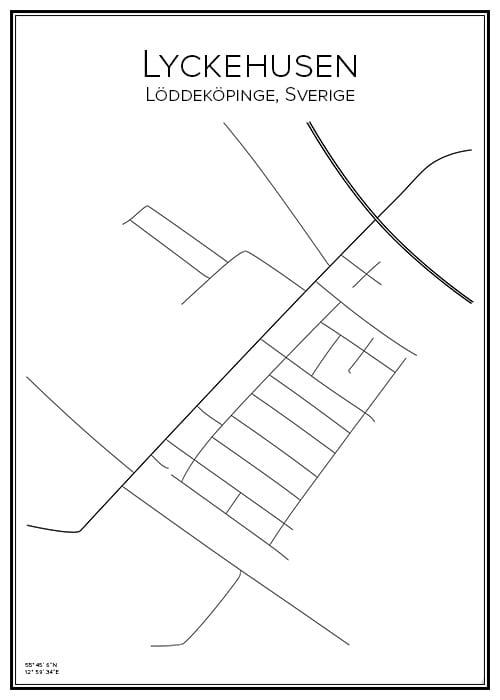 Stadskarta över Lyckehusen