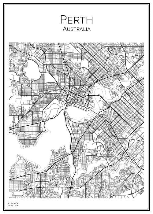 Stadskarta över Perth