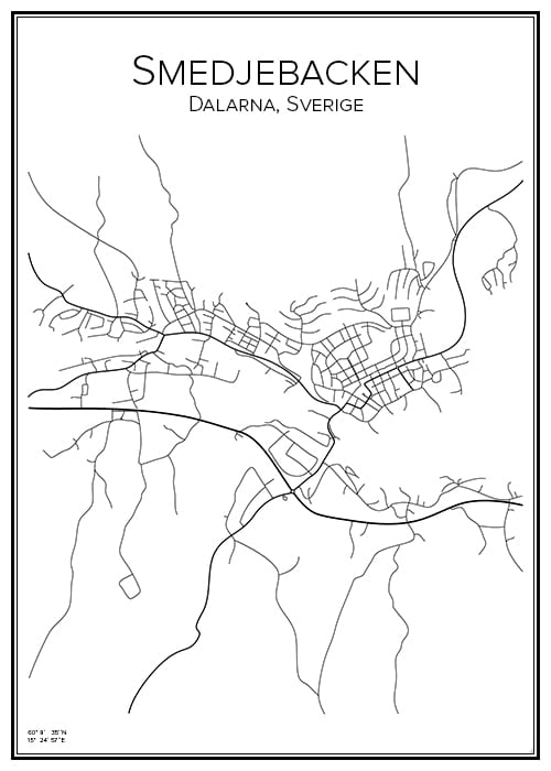 Stadskarta över Smedjebacken