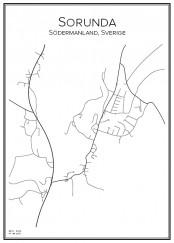 Stadskarta över Sorunda