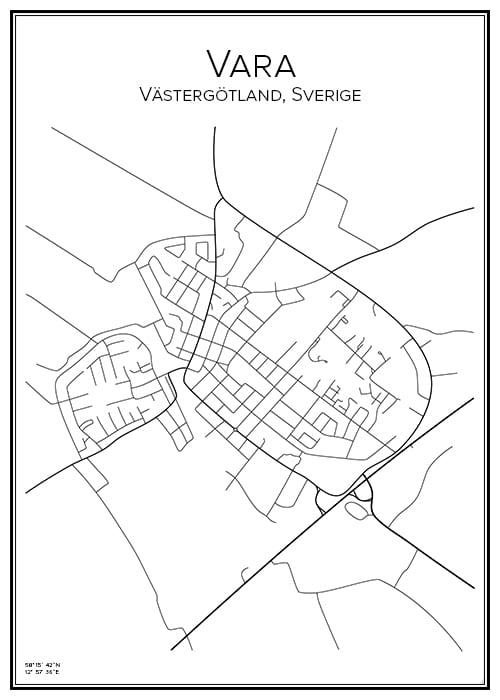 Stadskarta över Vara