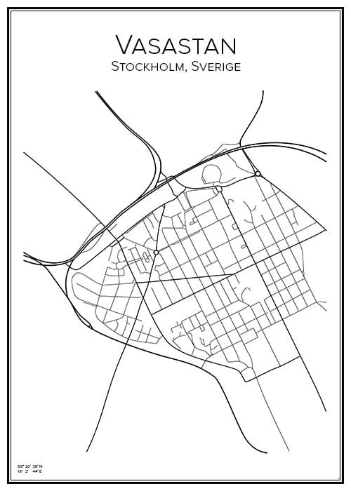 Stadskarta över Vasastan, Stockholm