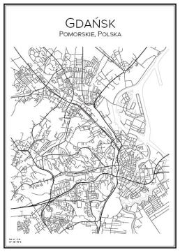 Stadskarta över Gdańsk
