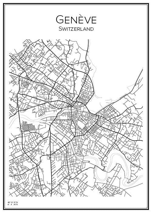 Stadskarta över Genève