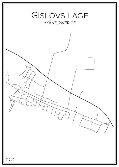 Stadskarta över Gislövs läge