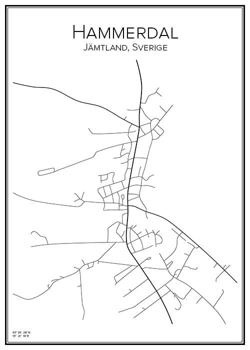 Stadskarta över Hammerdal