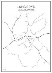 Stadskarta över Landeryd