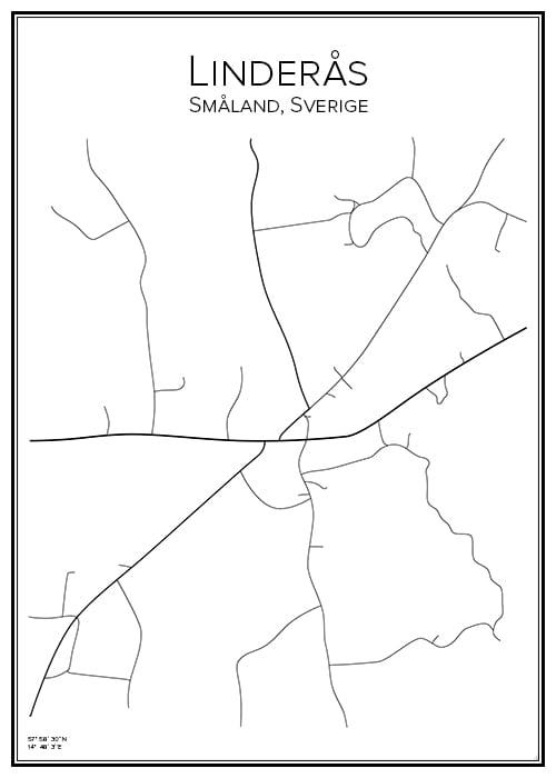 Stadskarta över Linderås