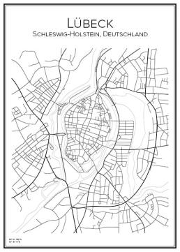 Stadskarta över Lübeck