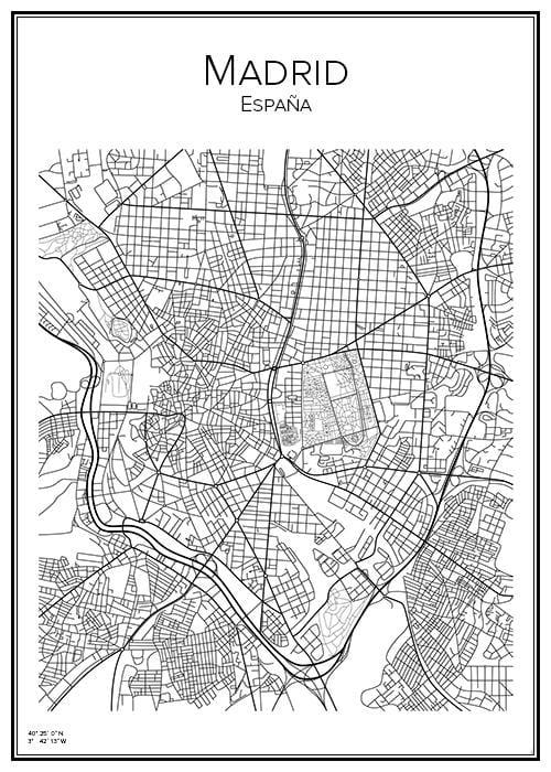 Stadskarta över Madrid