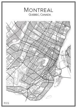 Stadskarta över Montreal