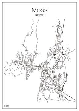 Stadskarta över Moss
