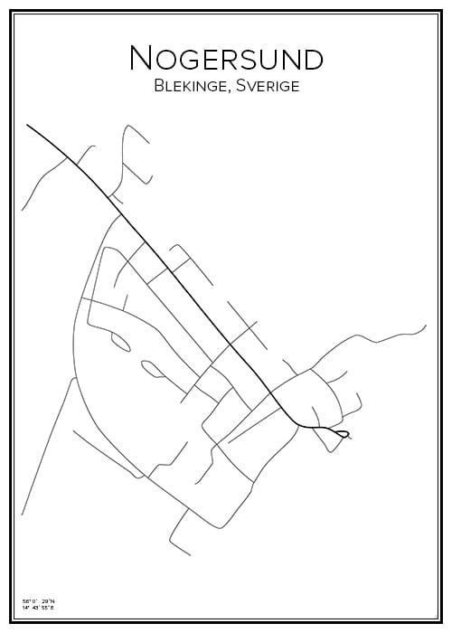 Stadskarta över Nogersund