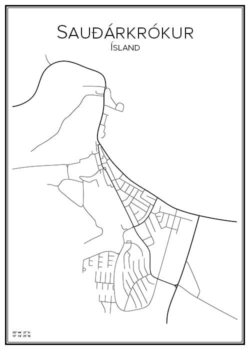 Stadskarta över Sauðárkrókur