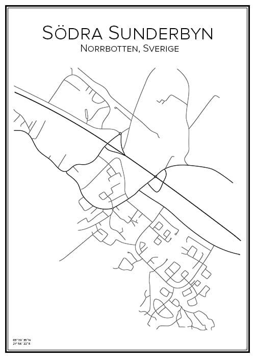 Stadskarta över Södra Sunderbyn