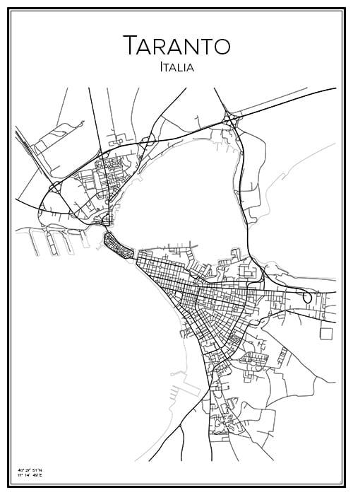 Stadskarta över Taranto