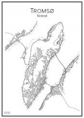 Stadskarta över Tromsø