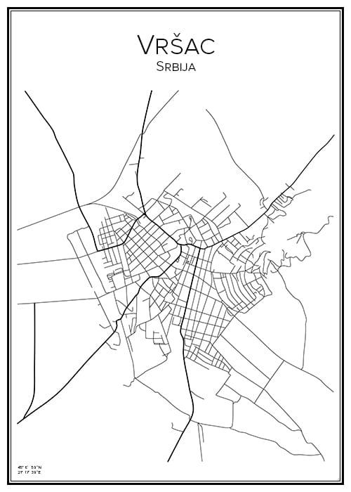 Stadskarta över Vršac