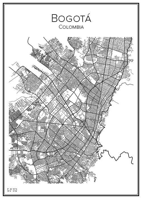 Stadskarta över Bogotá