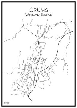 Stadskarta över Grums