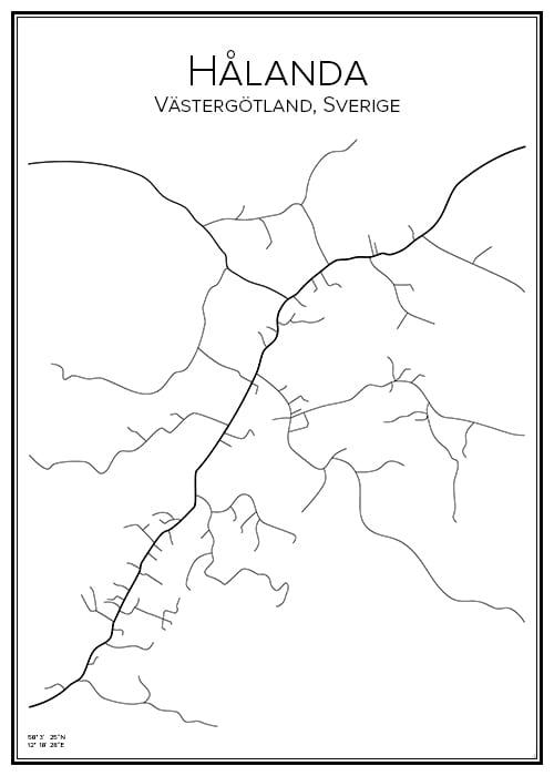 Stadskarta över Hålanda