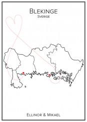 Kärlekskarta över Blekinge