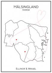 Kärlekskarta över Hälsingland
