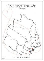Kärlekskarta över Norrbottens län