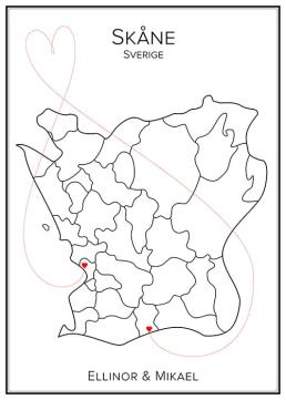 Kärlekskarta över Skåne