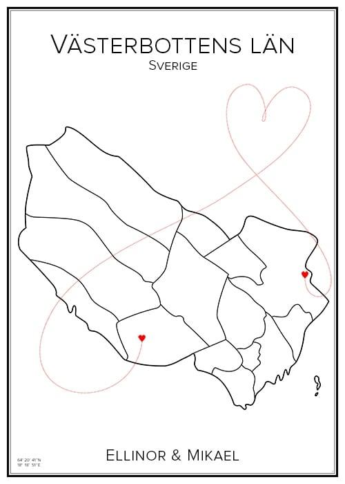 Kärlekskarta över Västerbottens län