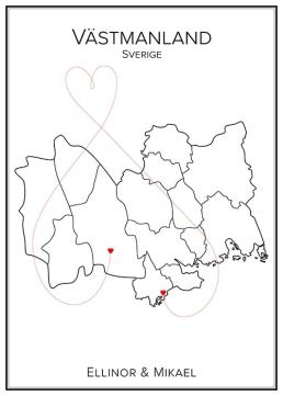 Kärlekskarta över Västmanland