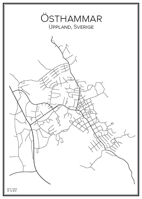 Stadskarta över Östhammar