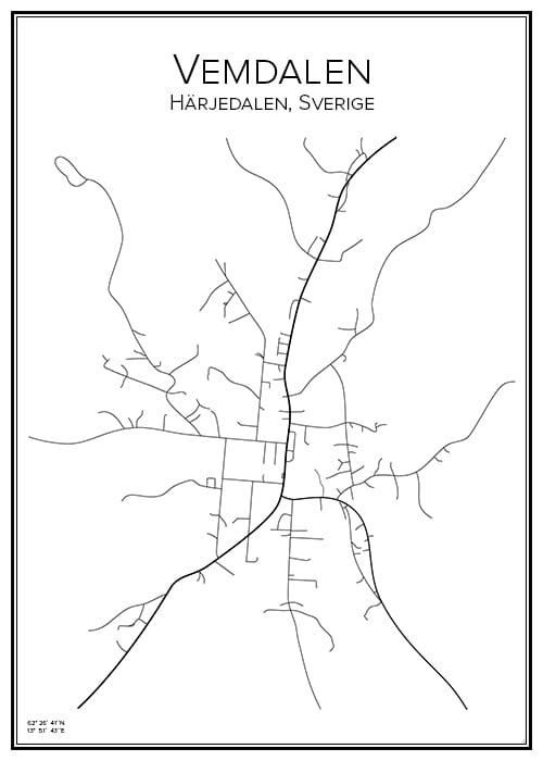 Stadskarta över Vemdalen