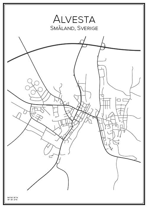 Stadskarta över Alvesta
