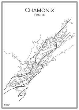 Stadskarta över Chamonix