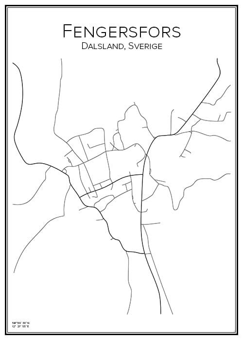 Stadskarta över Fengersfors